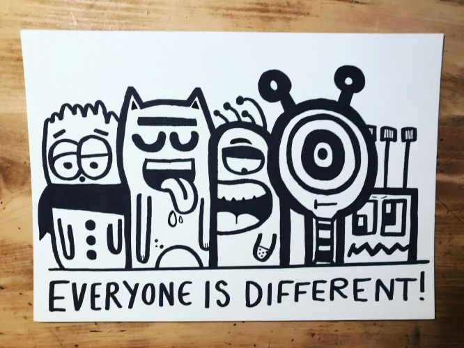 Everyone is Different - original print -  NEW
