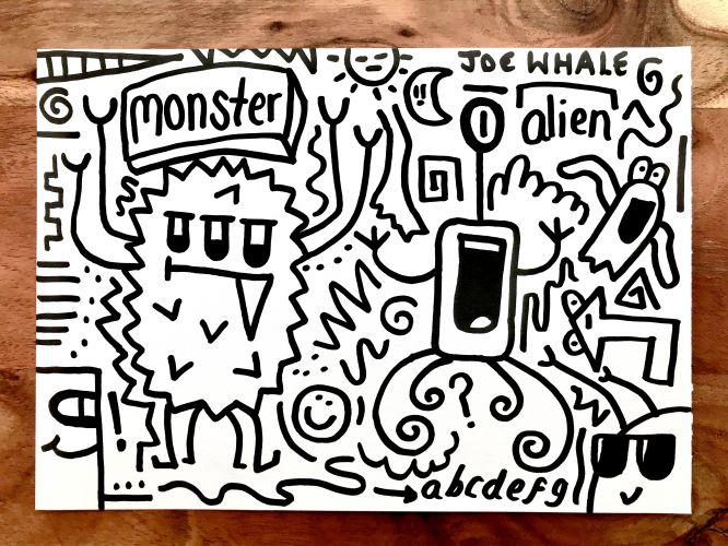 Monster vs Alien ORIGINAL doodle - SORRY SOLD OUT