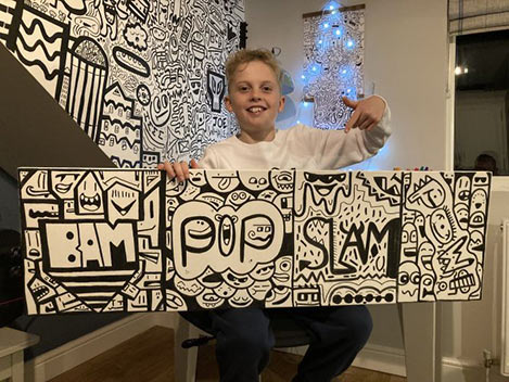 SORRY SOLD OUT - Original one off Buzz word Doodle canvass