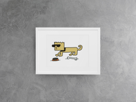 Cool Dog original print  A3